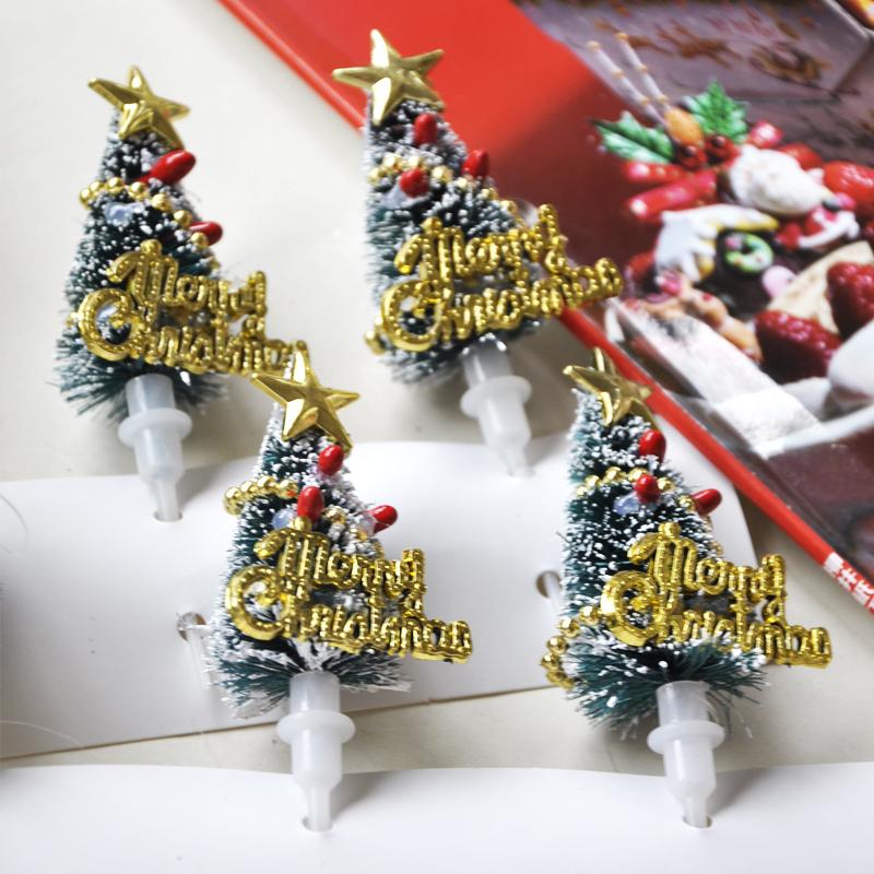 artificial mini Christmas tree cake topper